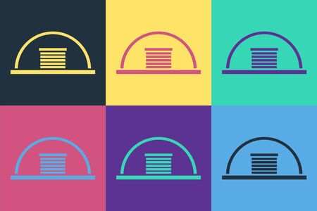 Pop art Hangar icon isolated on color background.  Vector Illustration