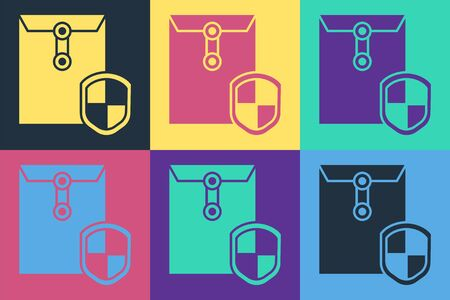 Pop art Envelope with shield icon isolated on color background. Insurance concept. Security, safety, protection, protect concept.  Vector Illustration