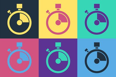 Pop art Fast time delivery icon isolated on color background. Timely service, stopwatch in motion, deadline concept, clock speed. Vector Illustration Illustration