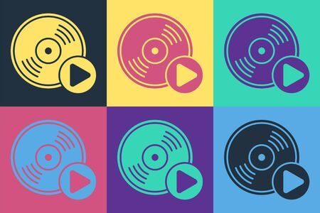 Pop art Vinyl disk icon isolated on color background. Vector Illustration