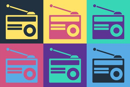 Pop art Radio with antenna icon isolated on color background. Vector Illustration Banque d'images - 140534431