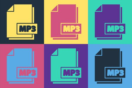 Pop art MP3 file document. Download mp3 button icon isolated on color background. Mp3 music format sign. MP3 file symbol. Vector Illustration
