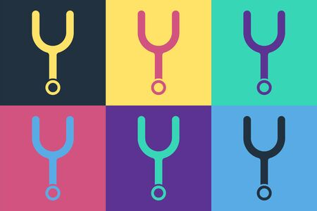 Pop art Musical tuning fork for tuning musical instruments icon isolated on color background. Vector Illustration