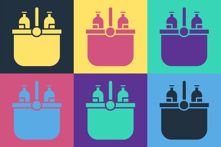 Pop art Cooler bag and water icon isolated on color background. Portable freezer bag. Handheld refrigerator. Vector Illustration