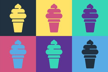 Pop art Ice cream in waffle cone icon isolated on color background. Sweet symbol. Vector Illustration