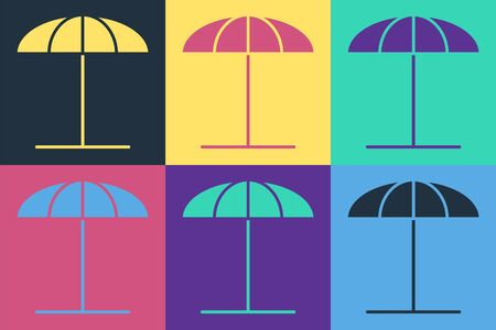 Pop art Sun protective umbrella for beach icon isolated on color background. Large parasol for outdoor space. Beach umbrella. Vector Illustration