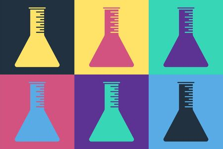Pop art Oil petrol test tube icon isolated on color background. Vector Illustration