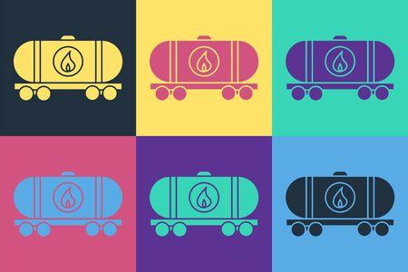 Pop art Oil railway cistern icon isolated on color background. Train oil tank on railway car. Rail freight. Oil industry. Vector Illustration