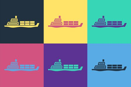 Pop art Oil tanker ship icon isolated on color background. Vector Illustration Stock Illustratie