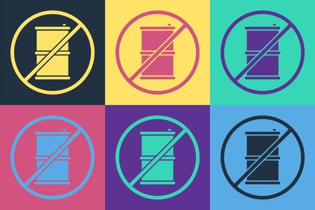 Pop art No barrel for gasoline icon isolated on color background. Diesel gas icon. Vector Illustration