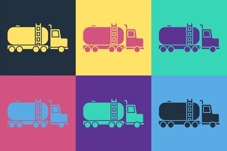 Pop art Tanker truck icon isolated on color background. Petroleum tanker, petrol truck, cistern, oil trailer. Vector Illustration