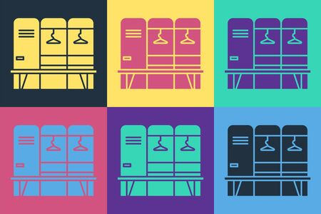 Pop art Locker or changing room for hockey, football, basketball team or workers icon isolated on color background. Vector Illustration Ilustração