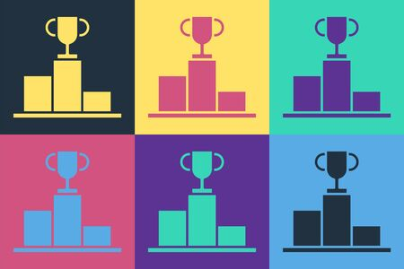 Pop art Hockey over sports winner podium icon isolated on color background.  Vector Illustration