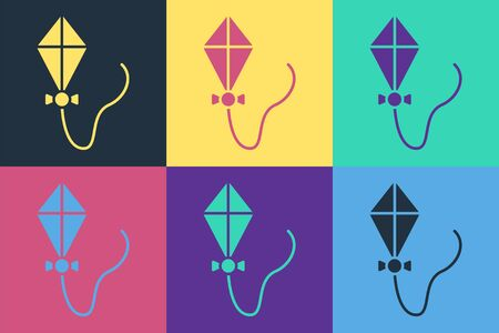 Pop art Kite icon isolated on color background.  Vector Illustration 일러스트