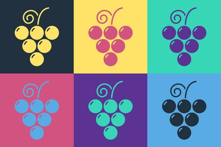 Pop art Grape fruit icon isolated on color background. Vector Illustration