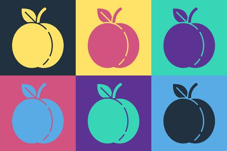 Pop art Peach fruit or nectarine with leaf icon isolated on color background. Vector Illustration