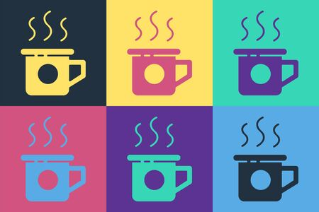 Pop art Cup of tea icon isolated on color background. Sweet natural food. Vector Illustration Ilustracja