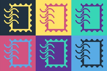 Pop art Postal stamp icon isolated on color background. Vector Illustration