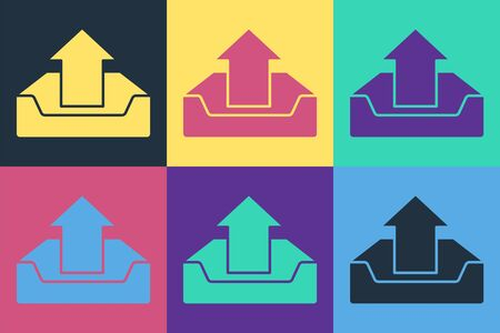 Pop art Upload inbox icon isolated on color background. Vector Illustration