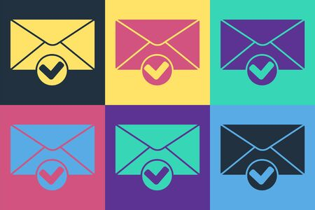 Pop art Envelope and check mark icon isolated on color background. Successful e-mail delivery, email delivery confirmation. Vector Illustration
