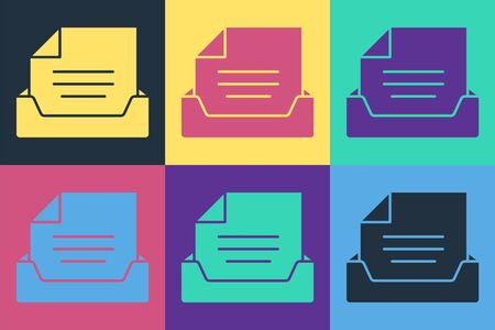 Pop art Drawer with document icon isolated on color background. Archive papers drawer. File Cabinet Drawer. Office furniture. Vector Illustration Ilustracja