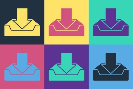 Pop art Download inbox icon isolated on color background. Vector Illustration Ilustracja