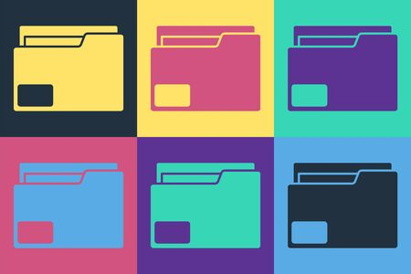 Pop art Document folder icon isolated on color background. Accounting binder symbol. Bookkeeping management. Vector Illustration
