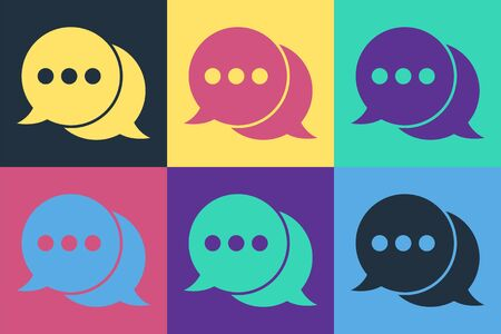 Pop art Speech bubble chat icon isolated on color background. Message icon. Communication or comment chat symbol. Vector Illustration