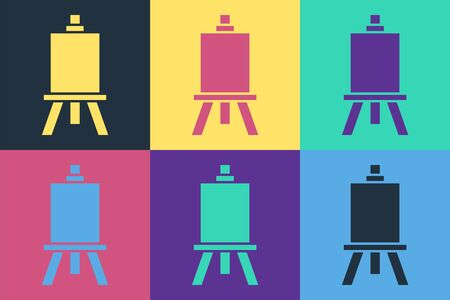 Pop art Wood easel or painting art boards icon isolated on color background. Vector Illustration