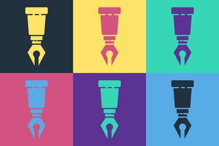 Pop art Fountain pen nib icon isolated on color background. Pen tool sign. Vector Illustration