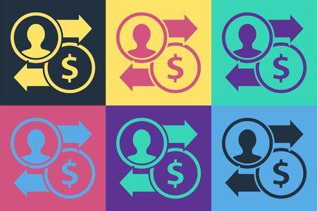 Pop art Job promotion exchange money icon isolated on color background. Success, achievement, motivation business symbol, growth. Vector Illustration