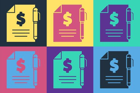 Pop art Contract money and pen icon isolated on color background. Banking document dollar file finance money page. Vector Illustration Ilustracja