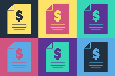 Pop art Contract money icon isolated on color background. Banking document dollar file finance money page. Vector Illustration