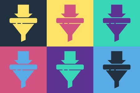 Pop art Sales funnel with arrows for marketing and startup business icon isolated on color background. Infographic template. Vector Illustration Illustration