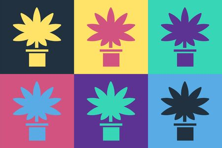 Pop art Medical marijuana or cannabis plant in pot icon isolated on color background. Marijuana growing concept. Hemp potted plant. Vector Illustration