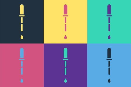 Pop art Pipette icon isolated on color background. Element of medical, chemistry lab equipment. Pipette with drop. Medicine symbol. Vector Illustration
