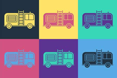 Pop art Fire truck icon isolated on color background. Fire engine. Firefighters emergency vehicle. Vector Illustration