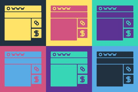 Pop art Buying drugs online icon isolated on color background. Online buying symbol. Vector Illustration Reklamní fotografie - 140536517