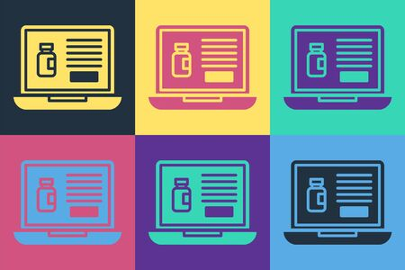 Pop art Buying drugs online on laptop icon isolated on color background. Online buying symbol. Vector Illustration Ilustrace