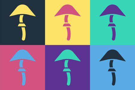 Pop art Psilocybin mushroom icon isolated on color background. Psychedelic hallucination. Vector Illustration Illusztráció