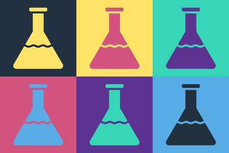 Pop art Test tube and flask chemical laboratory test icon isolated on color background. Laboratory glassware sign. Vector Illustration Illustration