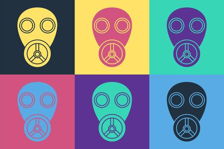 Pop art Gas mask icon isolated on color background. Respirator sign. Vector Illustration Ilustração