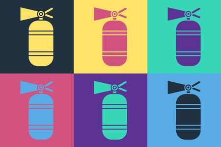 Pop art Fire extinguisher icon isolated on color background. Vector Illustration