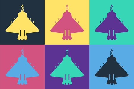 Pop art Jet fighter icon isolated on color background. Military aircraft. Vector Illustration Illustration
