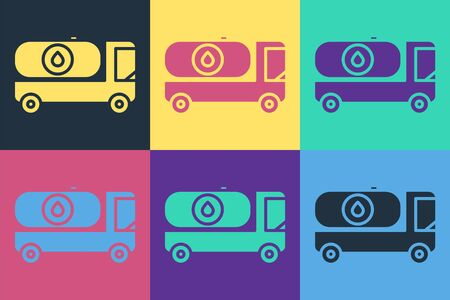 Pop art Fuel tanker truck icon isolated on color background. Gasoline tanker. Vector Illustration Stock Illustratie