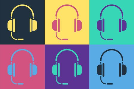 Pop art Headphones with microphone icon isolated on color background. Vector Illustration Banque d'images - 140537383
