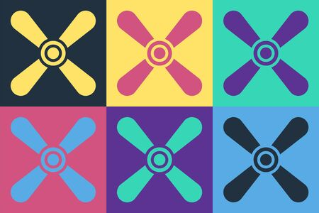Pop art Plane propeller icon isolated on color background. Vintage aircraft propeller. Vector Illustration Vectores
