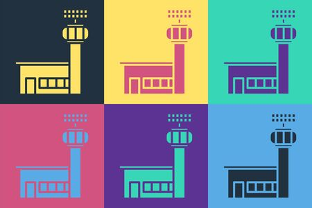 Pop art Airport control tower icon isolated on color background. Vector Illustration