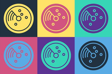 Pop art Radar with targets on monitor in searching icon isolated on color background. Search system. Navy sonar. Vector Illustration Reklamní fotografie - 140547564