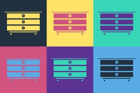 Pop art Chest of drawers icon isolated on color background. Vector Illustration